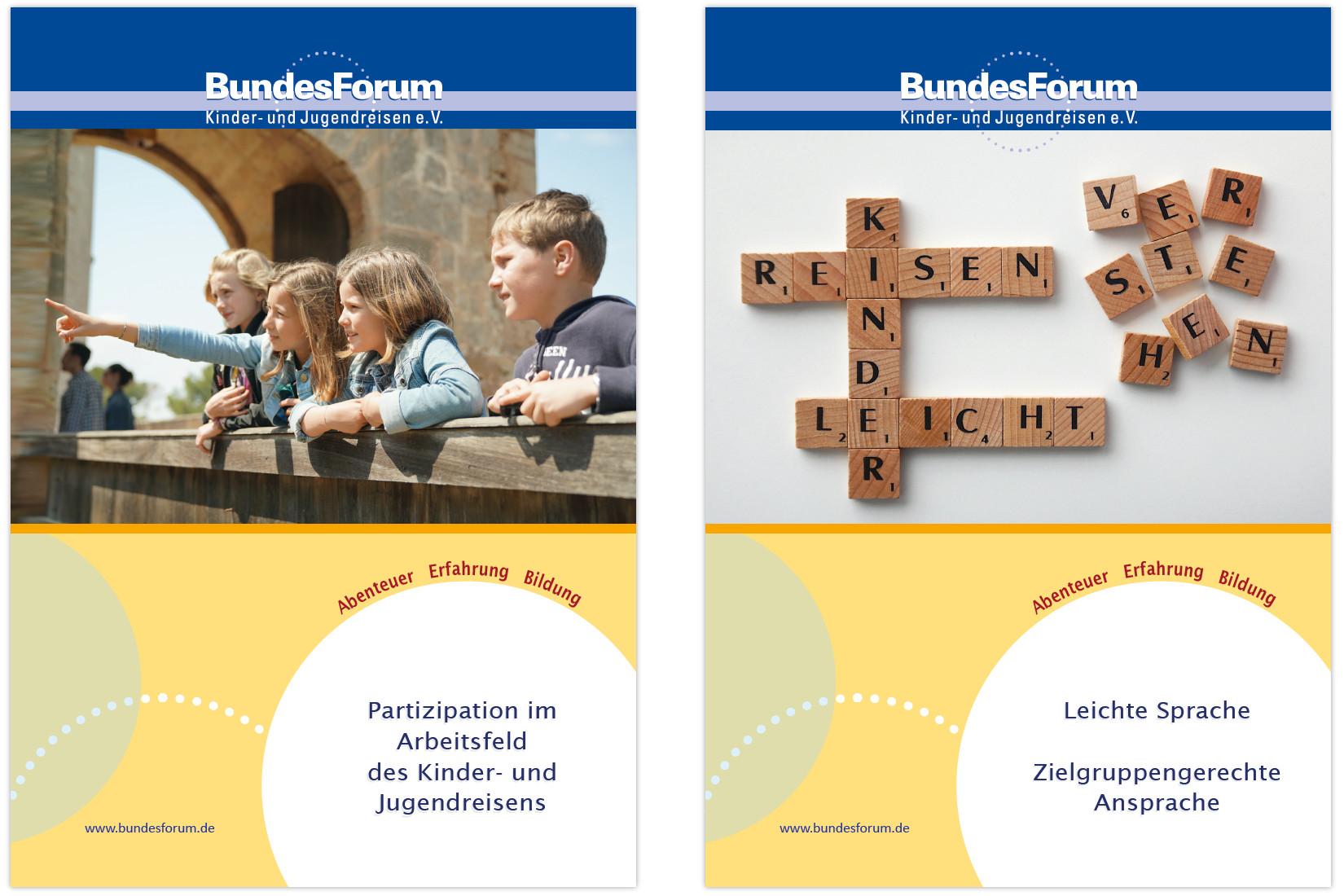 Titelbilder der Handreichungen für Kinder- und Jugendreisen